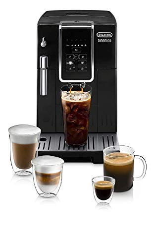 DeLonghi Dinamica Super Automatic Burr Grinder Coffee & Espresso Machine w/TrueBrew Over Ice (Iced Coffee), Black – ECAM35020B