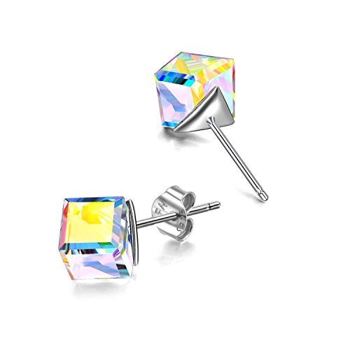 Hypoallergenic Sterling Silver Cube Stud Earrings with Blue Aurora Crystals from Swarovski Valentines Day Gifts for Her Fine Jewelry Gifts for Women Girls (Aurora Boreali)