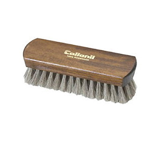 Collonil Light Bristle Horsehair Brush with Wood Handle for Polishing & Cleaning All Designer Leather Shoes, Clothes, and Handbags. (6½ in.)