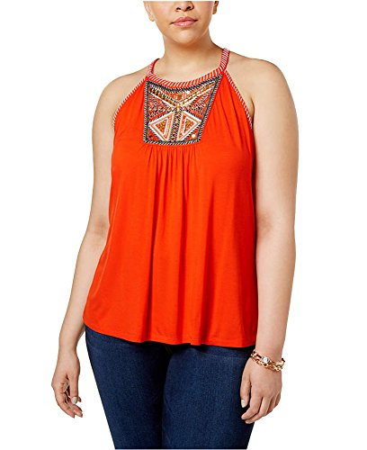 Greendog Inc International Concepts Plus Size Embroidered Halter Top -