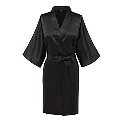Vogue Forefront Women's Plain Hip-Length Kimono Robe Short Bathrobe Sleepwear