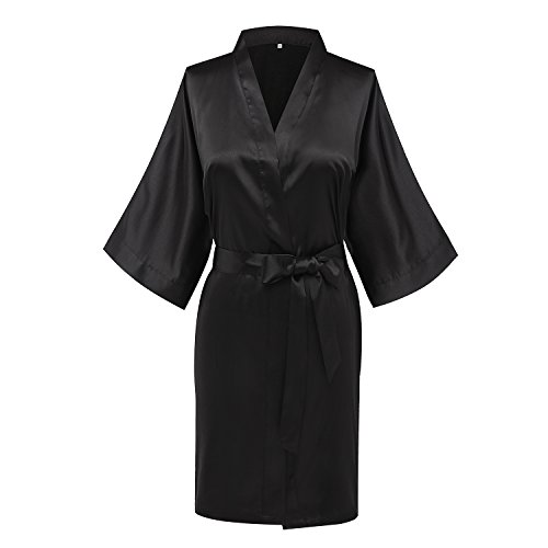 Goodmansam Women's Simplicity Stlye Bridesmaid Wedding Party Kimono Robes, Short,Pure Blac ...