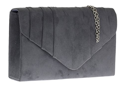 Party Womens Girly Clutch Design Faux Charcoal Suede HandBags Pleated Evening Bag 787qp