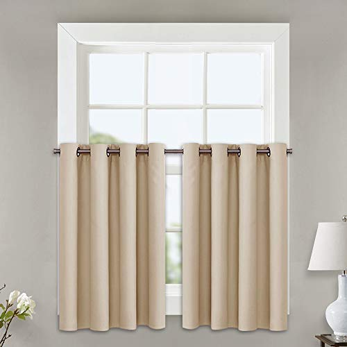 (NICETOWN Room Darkening Curtains for Window - Functional Thermal Insulated Window Treatment Drapes for Loft (Biscotti Beige, 2 Panels, 52W by 24L + 1.2 Inches Header))