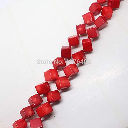 Calvas 10mm Beautiful Red Coral Square Diagonal Hole Cube Loose Beads 15