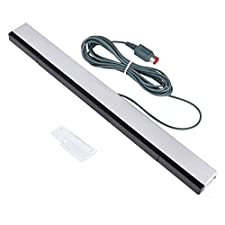 Kimilar Wired Infrared IR Ray Motion Sensor Bar for Nintendo Wii and Wii U Console (Silver/Black)