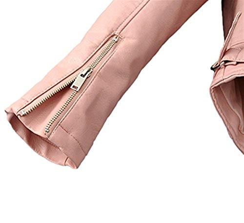 Fiori Donna Giacca Giacca Biker Fashion Eleganti Pelle Cute Ricamo Rosa Autunno Similpelle Cappotto Tendenza Jacket Chic Vintage Outerwear Lunghe Casual In Maniche Invernali XdXr8qwH