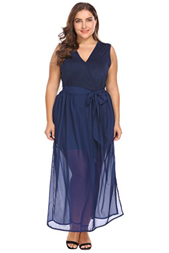 Women's Plus Size V Neck Split Chiffon Party Wedding Maxi Dress with Belt, Navy Blue, 5X