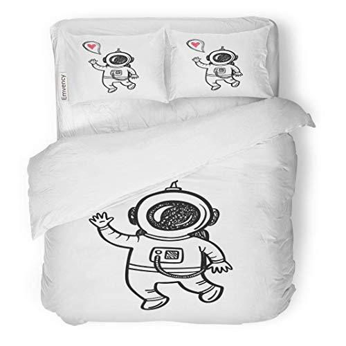 (MIGAGA Decor Duvet Cover Set Full/Queen Size Sketch Doodle Astronaut Alien Astronomy Children Cosmonaut Cosmonautics Cosmos 3 Piece Brushed Microfiber Fabric Print Bedding Set Cover)