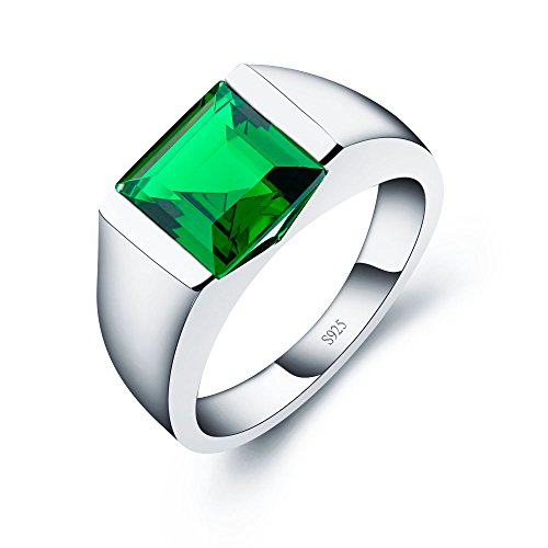 Emerald Sterling Silver Mens Bands - ANGG Men's Sterling Silver Ring Created Sapphire Emerald Smoky Quartz Wedding band