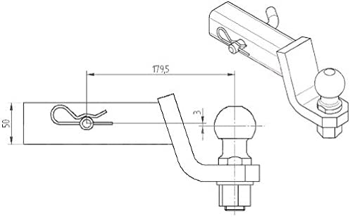 Anh/ängerkupplung Adapter f/ür US-Fahrzeuge Standard 50x50mm AHK h/öchste Qualit/ät