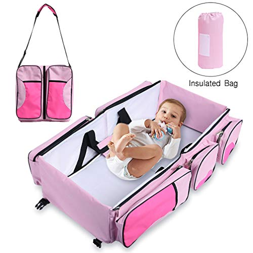 Baabyoo Baby Travel Bed and Bag Baby Diaper Bag Portable Baby Diaper Change Station 4 in 1 Folding Baby Bag Newborn Carrier Infant Bassinet Baby Tote Bag Folding Crib Baby Shower Gift (Pink) by Baabyoo