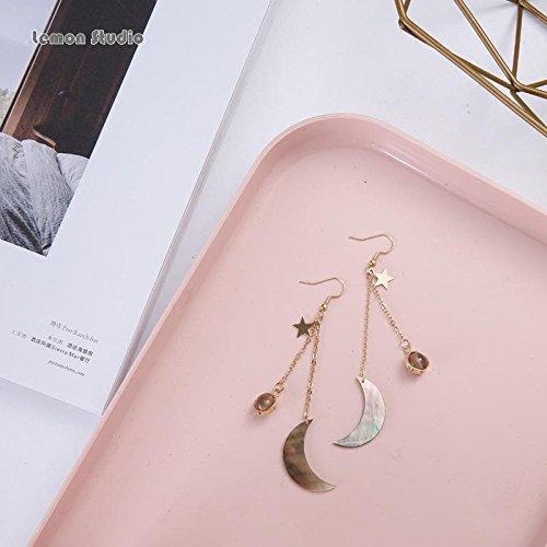usongs Lemon handmade retro style gray agate earrings Moon earrings pregnant same paragraph no pierced ear clip earrings