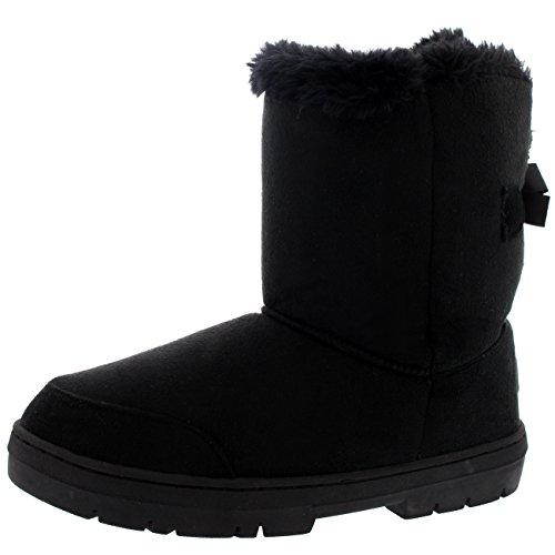 Womens One Bow Tall Classic Waterproof Winter Rain Snow Boots - Black - 10 - BLA41 (Faux Fur Bow)