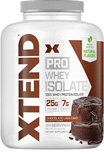 Scivation Xtend Pro 100% Whey Protein Isolate Powder with 7g BCAA & Natural Flavors, Keto Friendly, Gluten Free Low Carb Low Fat Protein Powder, Chocolate Lava Cake, 5 lbs