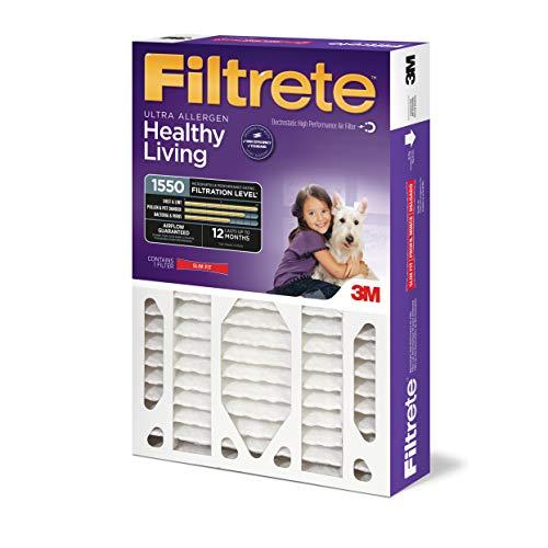 Filtrete 20x25x4(SlimFit), AC Furnace Air Filter, MPR 1550 DP, Healthy Living Ultra Allergen Deep Pleat, 4-Pack