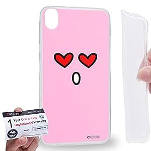 Case88 [HTC Desire 820] Gel TPU Carcasa/Funda & Tarjeta de garantía - Art Fashion In Love Kawaii Emoticon Edition Art1363