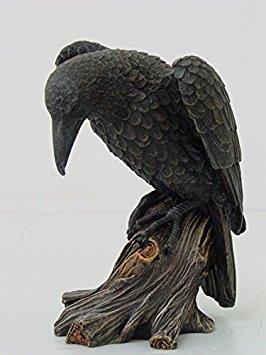 7.5 Inch Dark Raven on Large Tree Platform Resin Statue Figurine