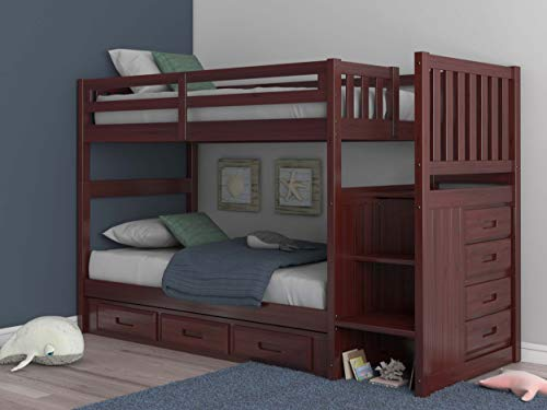 Discovery World Furniture Mission Twin Over Twin Staircase Bunk Bed with 3 Drawers in Merlot Finish