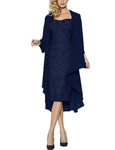 H.S.D Lace Mother of The Bride Dresses Formal Gowns with Chiffon Jacket Wraps US 16W Dark Navy