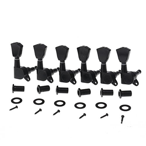 Musiclily Pro 6-in- line Sealed Guitar Tuners Tuning Pegs Keys Machine Heads Set for Strat or Tele Style, Tulip Button Black