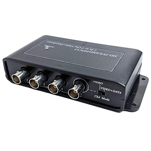 CCTV Camera Pros VDS-104HD HD CCTV Video Distribution Box | 1 to 4 BNC Security Camera Splitter | AHD HD-TVI HDCVI | Surveillance DVR Loop Out | RG59 / RG6 Coaxial Cable Transmission