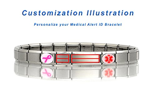 CUSTOMIZE YOUR CONDITION - Dolceoro Italian Modular Medical Alert ID Bracelet