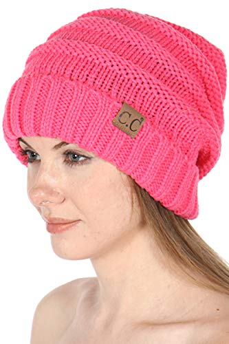 SERENITA Beanie Hat Knit Warm Winter Cap for Women Unisex, Slouchy Soft Skull Chunky Cable Hats, Solid - New Candy Pink