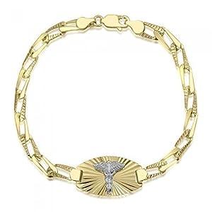 10K Ladies Diamond Cut Medical Alert Bracelet - Medical Data - Engraving Available - Open Link - Solid