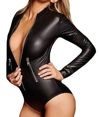 SportsX Women's Exotic Multi-Zipper Playsuit Pu Leather Leotards