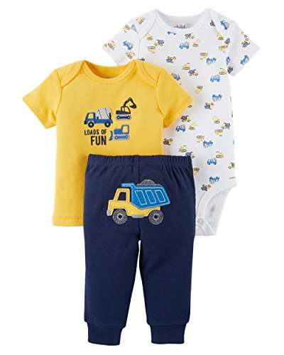 Child of Mine Carters Preemie Clothes For Boys Baby Pants Bodysuit Shirt 3 Pc Many Colors (Preemie Size Fits up To 6lb and 17 Length, Yellow Construction) ()