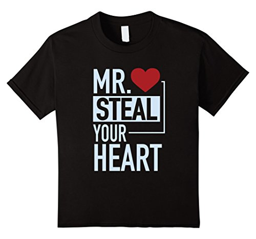 Kids Cute Mr. Steal Your Heart Valentine's Day T-Shirt 12 Black