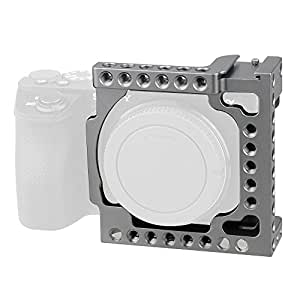 """CAMVATE Aluminum Camera Cage for Sony A6500,A6000,A6300,ILCE-6000,ILCE-6300,NEX7 with Conversion 1/4""""-20 Adapter Hole(Silver Grey)"""