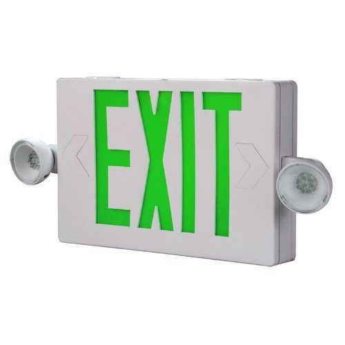 All-Pro Emergency APCH7G Combo Unit LED-Exit Sign with Dual Lights, Green Letters by Cooper Lighting -