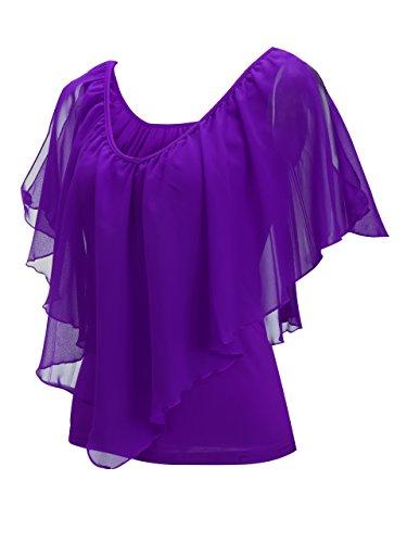 Sexy paule Shirts Les Manches Violet T Soie Volants T lastique V Courte Cou Blouse en Mousseline Shirts Femmes Hors de d't lche OzqBO