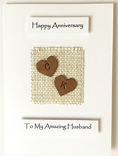 3rd Wedding Anniversary Card Handmade Personalised Tan Leather Hearts Made in - Personalised Uk