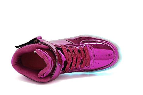 Tutuyu Enfants Et Adultes 11 Couleurs Led Allument Des Chaussures Haut Haut Sneakers Clignotant Pour Noël Violet