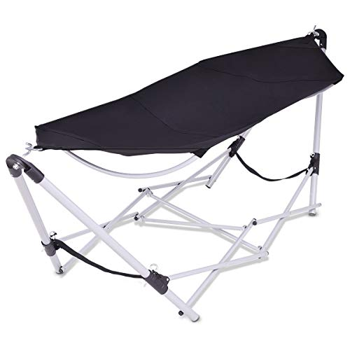 (Giantex Portable Folding Hammock Lounge Camping Bed Steel Frame Stand W/Carry Bag (Black))