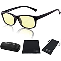 Duco Full Rim Ergonomic Advanced Computer Gaming Glasses with Amber Lens Tint 8016 Matte Black