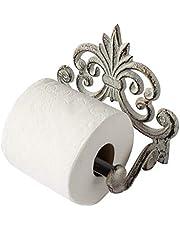 """Comfify Fleur De Lis Gietijzeren Toiletpapierrolhouder - Gietijzeren Wandmontage Toiletdoekhouder - Europees Vintage Design - 6,7 """"x 6,2 """"x 4,2 """" - Met schroeven en ankers"""