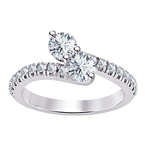 (1.50Ctw Round White Diamond 18K White Gold Plated 925 Sterling Silver Two Stone by-Your-Side Engagement Ring for Women's)