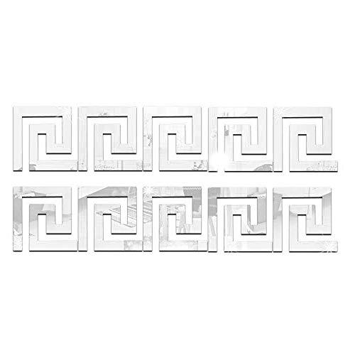 Konesky 10 Pegatinas de Pared de Espejo acrilico de Cintura geometrica, Pegatinas de Pared extraibles con Efecto de Espejo, para habitacion, Hotel, casa de huespedes, Fiesta, Plateado
