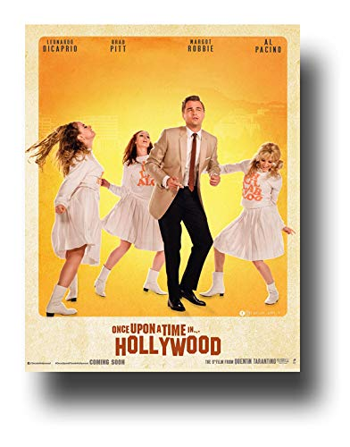 Once Upon A Time in Hollywood Poster Movie Promo 11 x 14 inches Dancing Yellow Leonardo Dicaprio Brad Pitt Margot Robbie Al Pacino