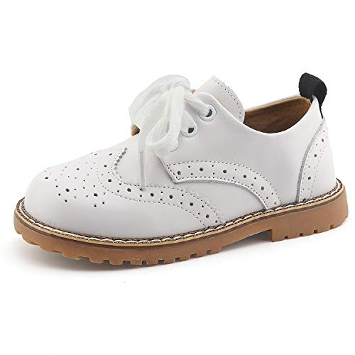 CCTWINS KIDS Toddler Little Kid Girl Boy Dress Oxford Leather Shoe(G9771-white-29) -