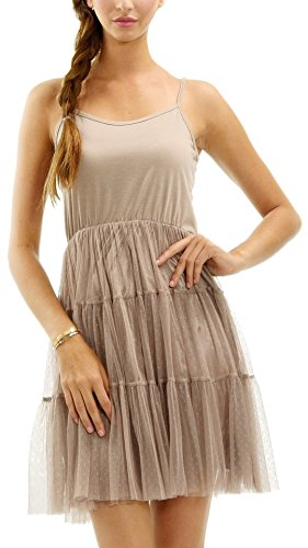 [Shop Lev] Women's Slip Dress with Tiered Mesh Skirt and Adjustable Straps Tiered Mesh Dress