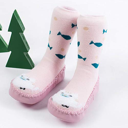 NUWFOR Newborn Baby Boy Girl Cartoon Xmas Floor Socks Anti-Slip Warm Baby Step Socks(Pink,12-15Months by NUWFOR (Image #1)