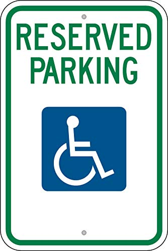 Handicap Traffic Sign - Traffic Signs - Federal Handicap Parking Sign (R7-8) 10 x 7 Aluminum Metal Sign Street Weather Approved Sign 0.04 Thickness