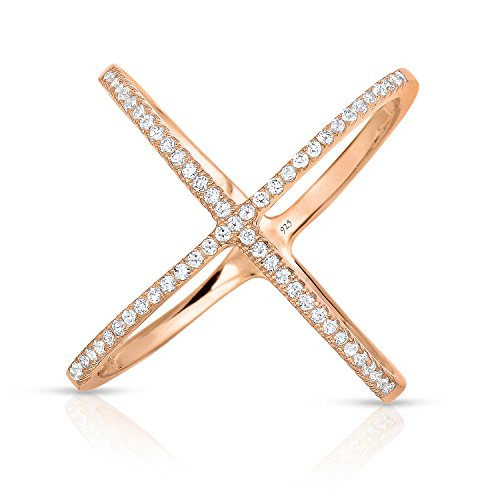 (Unique Royal Jewelry Sterling Silver Cross Cross X Ring Micro Pave CZ Rose Gold Finish Long (Size 8))