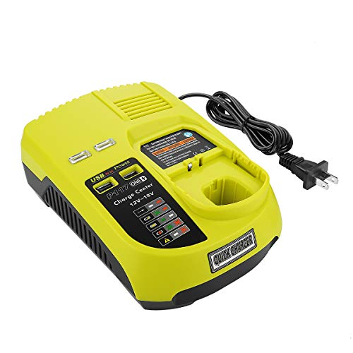 YABELLE P117 Dual Chemistry IntelliPort Charger for All Ryobi 12V-18V ONE+ Lithium Battery & NiCad NIMH Battery US Plug (Battery Not Included, Charger Only) ()