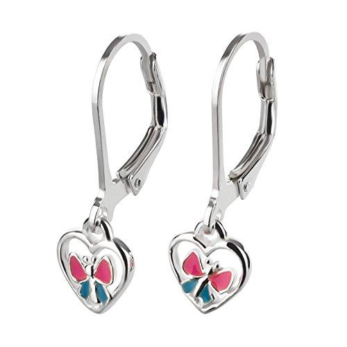 SL de Silver Niños Pendientes Mariposa en Corazón 925Plata En Caja De Regalo